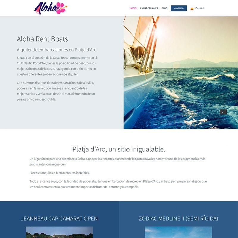 Aloha rent boats Diseño web en Barcelona