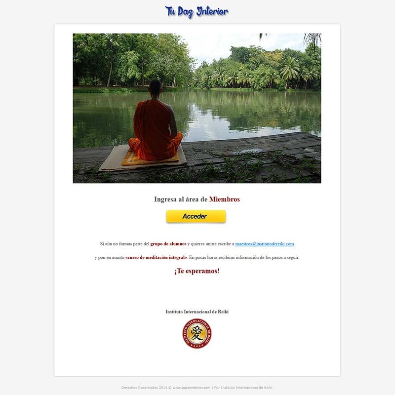 Meditación Tu paz interior Diseño web