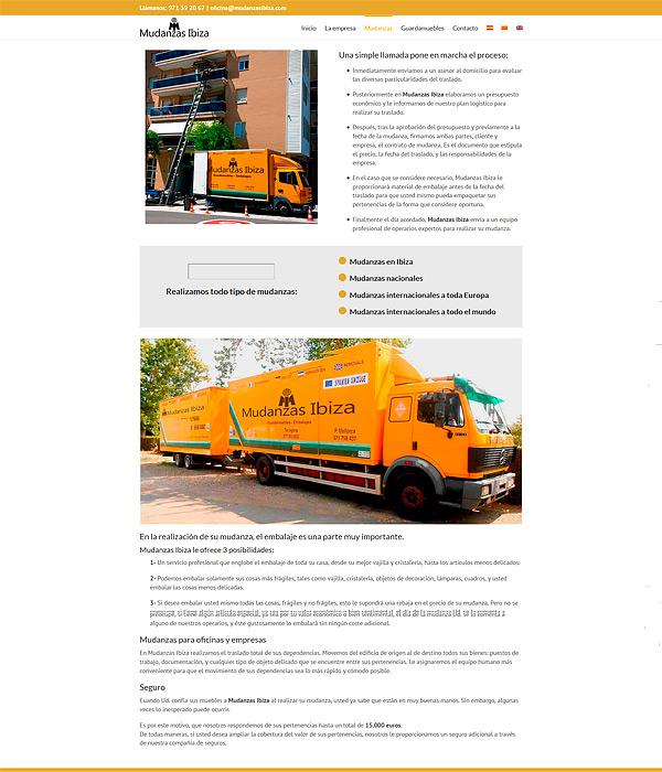 Mudanzas Tarragona Diseño web en Pineda de Mar